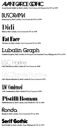 ITC Fonts by Herb Lubalin and Others