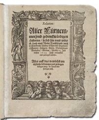"Title page of the ""Strasbourg Relation"" published by Johann Carolus in 1609"