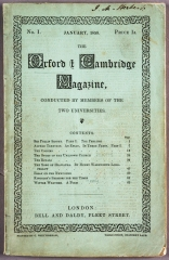 "The first issue of the ""Oxford and Cambridge Magazine"""