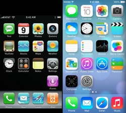 Comparison of iOS 1 to iOS 7 user interface