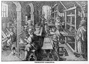 An engraving depicting an early Venetian printing shop