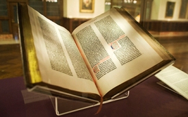 The Lenox copy of the Gutenberg Bible on display at the New York Public Library. It was the first complete set brought to the US in 1847.