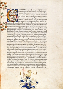 "The first page of Eusebius' ""Preparation for the Gospel"" printed by Nicolas Jenson in 1470. It is thought to be the first appearance of a roman typeface."