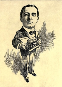 An illustration of Albert Blake Dick with a rotary mimeograph machine
