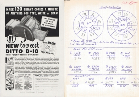 A Ditto magazine ad from 1954 and a homework sheet from 1970