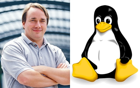 Linus Torvalds and the Linux logo