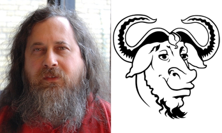 Richard Stallman in 2007 and the GNU logo