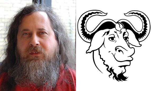 Richard Stallman in 2007 and the GNU logo