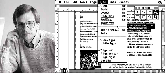 Paul Brainerd and an early version of Aldus PageMaker on the Macintosh