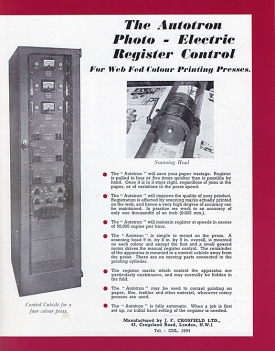 1949 advertisement for the Crosfield Autotron, the first automated electronic register control system