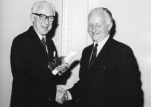 John Crosfield receiving the gold medal of the Institute of Printing in 1973