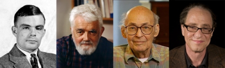 The pioneers of artificial intelligence theory: Alan Turing, John McCarthy, Marvin Minsky and Ray Kurzweil