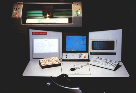 An early model Scitex Response workstation and console