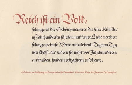 An example of calligraphy from the sketchbook that Hermann Zapf kept during World War II.