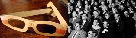 1950s 3-D glasses and a movie audience wearing them