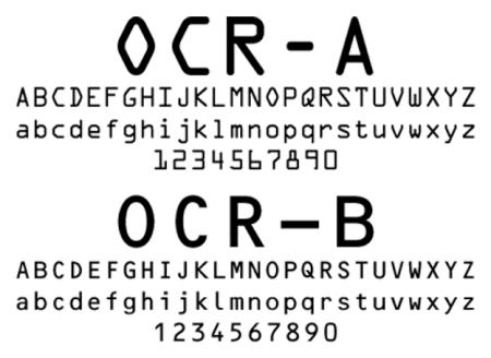 Comparison of OCR-A (1968) with Frutiger's OCR-B (1973)