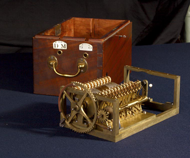 "The first of two calculating machines invented by Charles Stanhope. His ""arithmetical machines"" have been recognized as precursors to the computer."