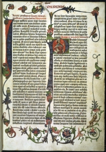 Ornamented title page of the Gutenberg Bible printed in 1451