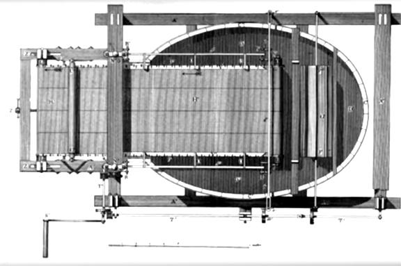 Diagram of Robert's original papermaking machine