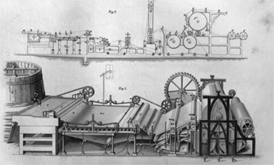 Mid-19th century drawing of a Fourdrinier papermaking machine