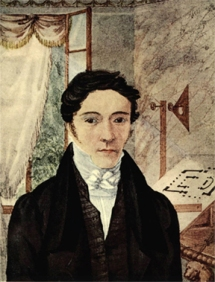Portrait of Nicholas-Louis Robert from a watercolor painted by his sister