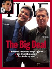 The January 24, 2000 cover of Time magazine with Steve Case and Jerry Levin announcing the AOL-Time Warner merger.