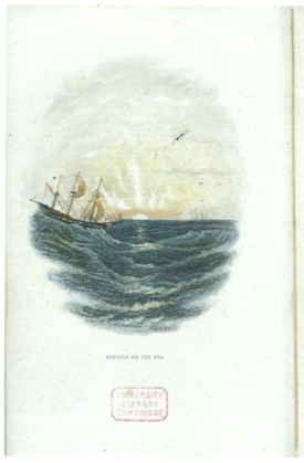 "An early example of Baxter's color printing innovation, ""Evening on the sea"" (1835), is the frontispiece of Robert Mudie's book ""The Sea"""