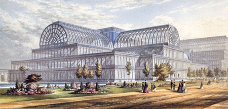 "Baxter's series ""Gems of the Great Exhibition"" (1852) included this image of the exterior of the Crystal Palace in London."