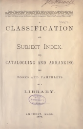 Title page of the first edition of Dewey's bibliographic classification system